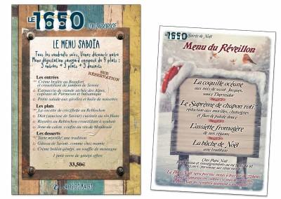 """Menus du restaurant-bowling """"Le 1650"""""""