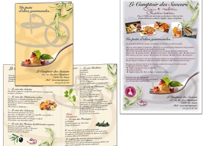 """composition graphique pour """"Le comptoir des saveurs"""""""