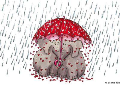"Carte postal ""amour d'éléphants"""