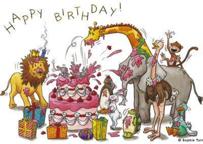 """Carte postal humour """"anniversaire des animaux"""""""