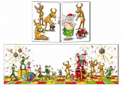 "Carte postale de Noël Cache-cache ""Disco Noël"""