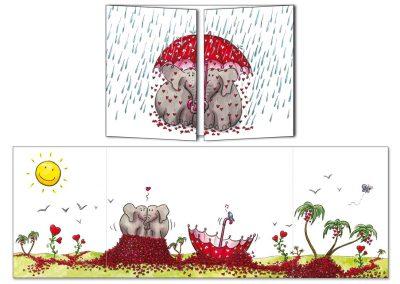 """Carte postale Cache-cache """"Elephants sous un parapluie"""""""