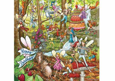 Carte fiesta anniversaire fées