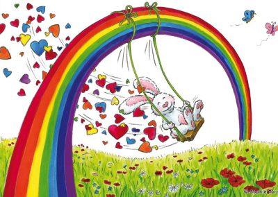 """Carte postale """"Le lapin de l'arc en ciel"""""""