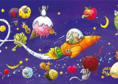 """Carte postale panoramique """"Les planètes"""""""