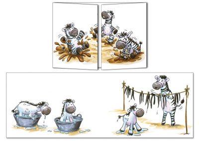 """Carte postale Cache-cache """"Les petits zèbres coquins"""""""
