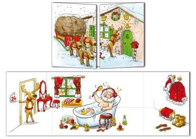 "Carte postale de Noël Cache-cache ""Noël en retard"""