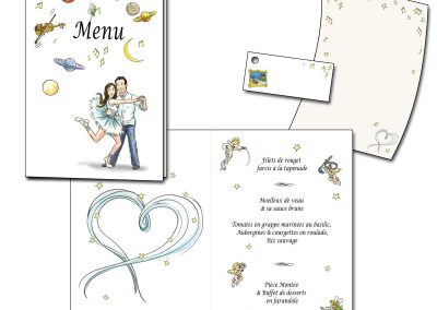 Menu et cartons de placement invités assorti au faire-part pour un mariage
