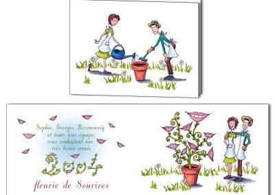 Personnalisation d'une carte de vœux pour des orthodontistes les représentant en jardiniers qui font fleurir des sourires