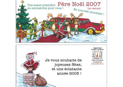 """Carte fêtes de fin d'année """"Tournée du Père Noël"""""""