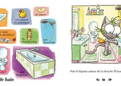 """Page """"la salle de bain"""" de l'imagier de la maison, Balivernes éditions"""