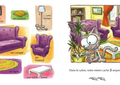 """Page """"le salon"""" de l'imagier de la maison illustré par Sophie Turrel"""