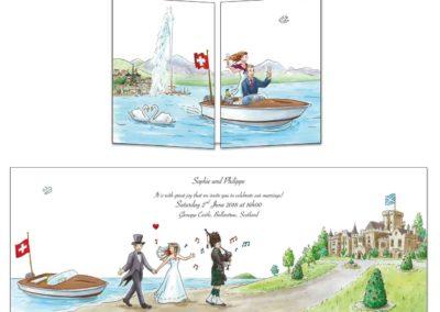 """Faire-part de mariage """"de la Suisse à l'Ecosse"""""""