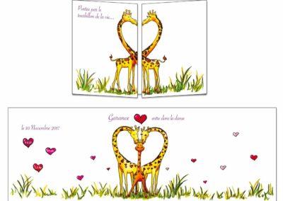 """Faire-part naissance """"un amour de girafes"""""""