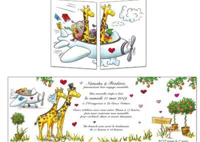 Faire-part mariage Les girafes voyageuses