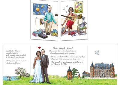 création d'un faire-part mariage représentant le couple avec ses passions et centres d'intérêt , puis les mariés devant le château du lieu de leur fête de mariage