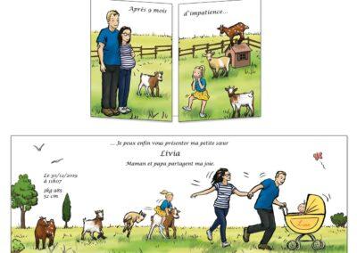 création d'un faire-part naissance pour une 2ème fille. Grande sœur impatiente jouant avec ses petites chèvres