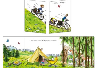 création d'un faire-part de naissance pour un deuxième enfant, ambiance nature, camping, cyclo et forêt…