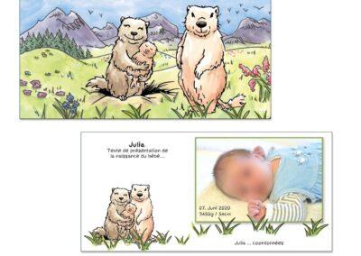 Faire-part naissance personnalisé représentant une famille de marmottes dans un décor de montagnes