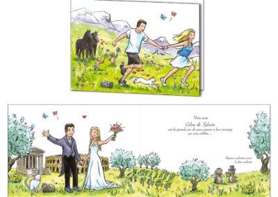 Faire-part mariage personnalisé créé pour un couple : rencontre au badminton à la montagne, entourés de leurs animaux, mariage à Nîmes.