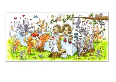 Faire-part mariage créé pour une famille avec un enfant, passionnées par les animaux de la forêt. Grand banquet festif dans les bois.