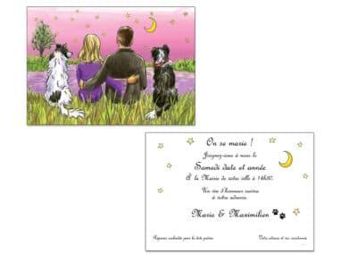 Faire-part mariage créé pour un couple passionné par les chiens. Couché de soleil romantique.