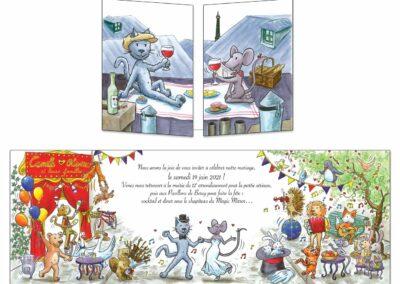 Création d'un faire-part mariage représentant le couple en chat et souris sur les toits de Paris. La fête se déroulera ambiance foraine et cirque.