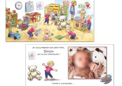 Faire-part naissance personnalisé pour une famille avec grande sœur qui accueille le nouveau petit frère dans sa chambre, et lui fait découvrir tous ses jouets.